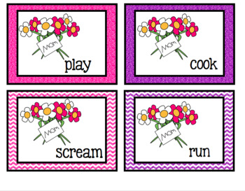 Mother's Day Nouns and Verbs Center FREEBIE