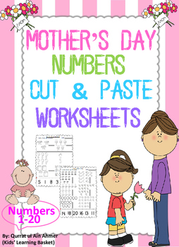 Mother's Day Numbers Cut and Paste Worksheets (1-20):