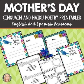 Mother's Day Poetry Printables, Haiku, Cinquain, English and Spanish