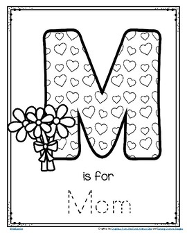 mother's day poster card m is for mom trace and color freekidsparkz