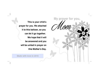 Mother's Day Prayer Card/Balloon Release