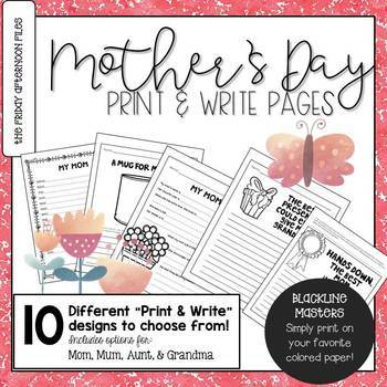 Mother's Day Print & Write Pages