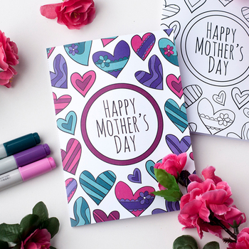 picture regarding Printable Mothers Day Cards to Color Pdf titled Moms Working day Printable Coloring Card PDF Printable card in the direction of shade for Mother / Mum