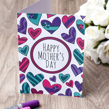 Mother's Day Printable Coloring Card – PDF Printable card to color for Mom / Mum