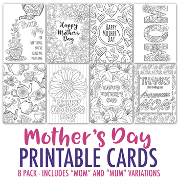 Mother's Day Printable Coloring Cards (8 Pack) | Mother's Day PDF card templates