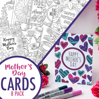 photo regarding Printable Mothers Day Cards to Color Pdf known as Moms Working day Printable Coloring Playing cards (8 Pack) Moms Working day PDF card templates