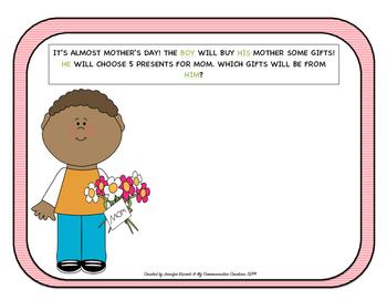 Mother's Day Pronoun Activity Oral Language Activity SLP