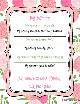 Mother's Day Questionnaire, Letter M Week, Gift for Moms