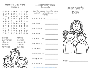 mother 39 s day reading comprehension trifold by sarah eisenhuth tpt. Black Bedroom Furniture Sets. Home Design Ideas