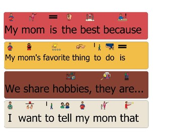 Mother's Day Sentence Starters Finishers Word Bank Writing Activity Special Ed