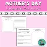 Mother's Day: Speech-language cards freebie, teletherapy.