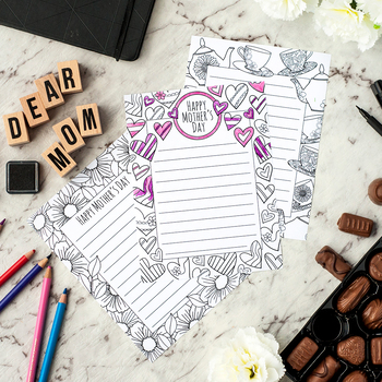 Mother's Day Stationery – 3 printable letterheads to color and send to Mom / Mum