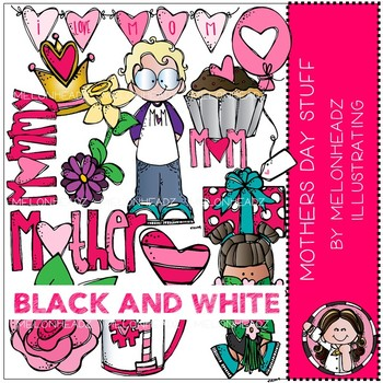 Mother's Day Stuff clip art - BLACK AND WHITE - Melonheadz Clipart