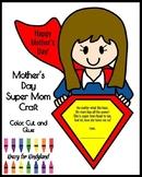 Mother's Day Super Mom Craft and Poem for Kindergarten