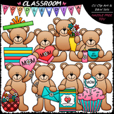 Mother's Day Teddy Bears - Clip Art & B&W Set