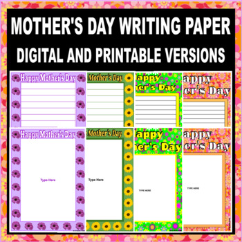 Mother's Day Themed Writing Paper (DIGITAL AND PRINTABLE VERSIONS INCLUDED)