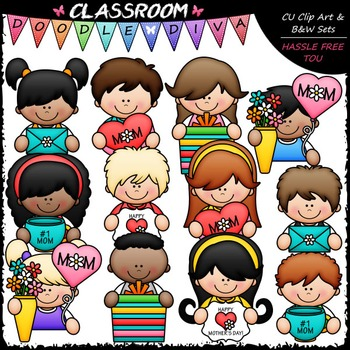 Mother's Day Topper Kids Clip Art - Mother's Day Clip Art & B&W Set