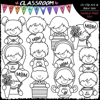 Mother's Day Topper Kids - Clip Art & B&W Set