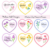 Mother's Day Valentine Hearts & Flowers Digital Clipart