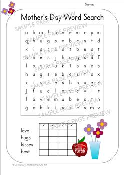 Mother's Day WORD SEARCHES 4 Kindergarten to Grade 1 Easy