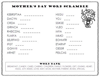 Mother's Day Word Scramble and ABC Order Cut and Paste
