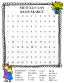 Mother's Day Word Search (color and BW versions)