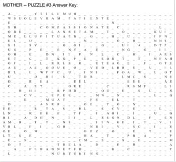 Mother's Day Word Search Puzzles -- Adjectives and Foreign Words