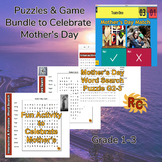 Mother's Day Word Search Puzzles and Game Bundle for Kids 1st-3rd
