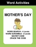 Mother's Day - Word Search Puzzle, Word Scramble,  Secret Code,  Crack the Code