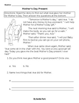 Mother's Day Worksheet: Story w/ 2 Reading Comprehension Questions + Activities