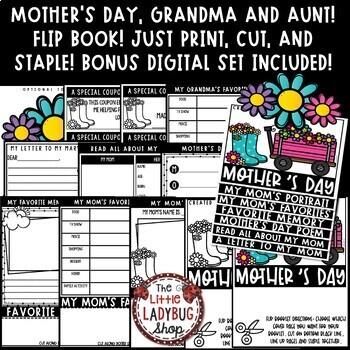 Mother's Day Writing Activity BONUS Grandma & Aunt Mother's Day Craft Flip Book