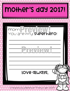Mother's Day Writing Project 2017- Digital and Paper Products