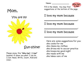 Mother's Day Writing and Math Activities!   FREE SAMPLE!