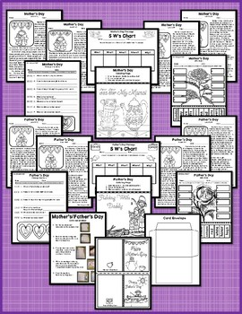 Mother's Day and Father's Day Multi-Level Reading Passages with Card