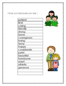 Mother's Day and Father's Day writing activity to create a memorable gift