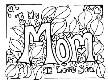 Mothers Day coloring page for Mom Birthday by Miss Jenny Designs