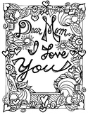 Mother's Day for Mom coloring page. Mom's Birthday. Spring