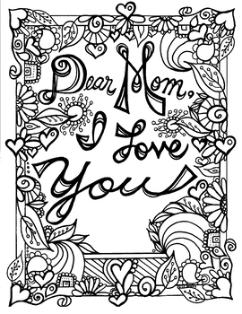 mother's day for mom coloring page mom's birthday spring  tpt