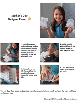Mother's Day purses handbags with FREE fact sheet coloring pages Mom certificate