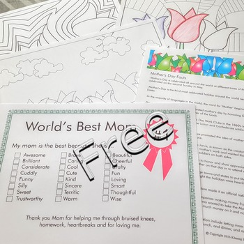 Mother's Day tulip planter with FREE fact sheet coloring pages Mom certificate