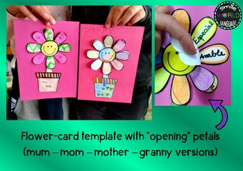 Mother's day Craftivity mobile card templates Granny Mom Mum