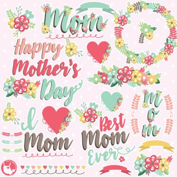 Mother's day clipart commercial use, vector graphics  - CL1079