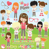 Mother's day clipart commercial use, vector graphics  - CL1082