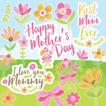 Mother's day clipart commercial use, vector graphics, digital,  - CL968