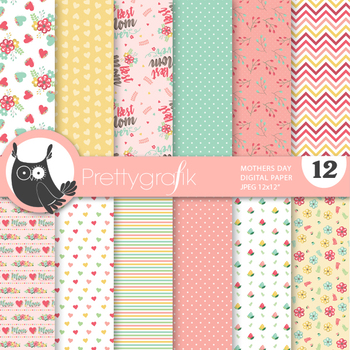 Mother's day papers, commercial use, scrapbook papers - PS858