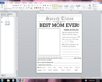 Mother's day speech activity