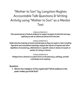 Mother to Son Accountable Talk and Writing Activity