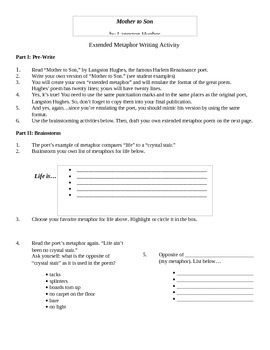 Mother to Son Poetry Worksheet
