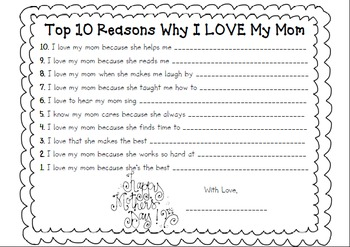 Mother's Day: 10 Reasons Why I Love You and Award