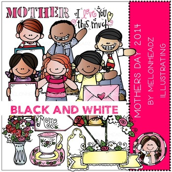Mother's Day 2014 clip art / printable - BLACK AND WHITE- by Melonheadz